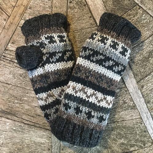 Grey Stripe Fleece Lined Woollen Fingerless Gloves