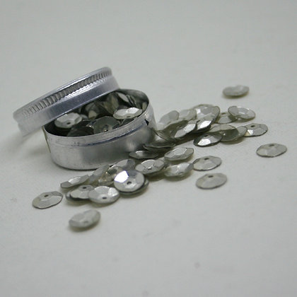 Curved Round Silver Sequins