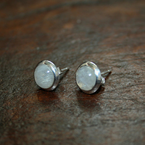 Rainbow Moonstone Studs with Slanted Setting
