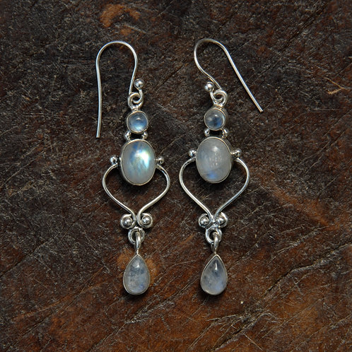 Trio of Rainbow Moonstone Earrings