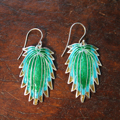 Green and Turquoise Feather Enamel Earrings