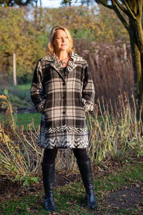Pure Wool Coat with Upcycled Silk Lining