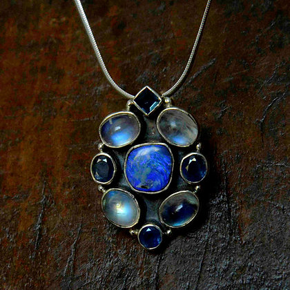 Rainbow Moonstone, Kyanite and Australian Opal Pendant
