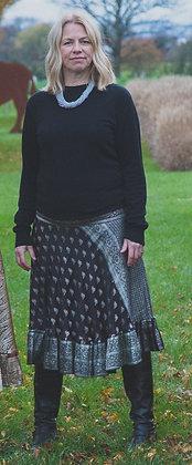 Black Embroidered Vintage Sari Skirt Short