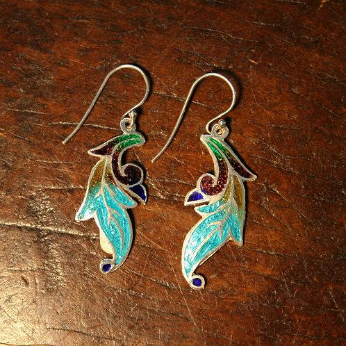 Falling Leaf Enamel Earrings