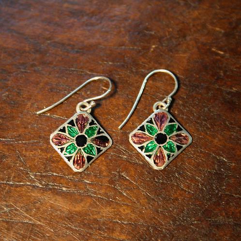 Diamond Flower Enamel Earrings