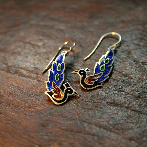 Peacock Enamel Earrings