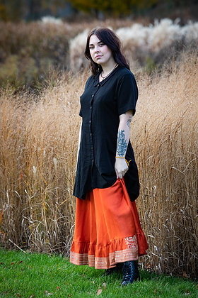 Orange Embroidered Vintage Sari Skirt Long