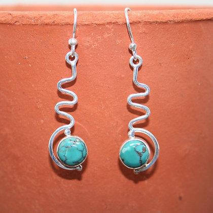Snake Drop Turquoise Earrings