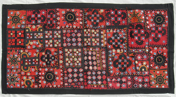 """Red """"Suff"""" Hand Embroidered Gujarati Wall Hanging"""