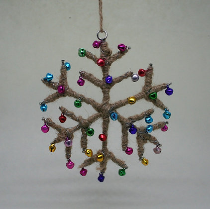 Jute Bell Snowflake Christmas Decoration