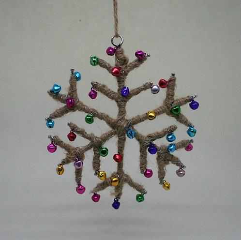 Jute Bell Snowflake Christmas Decoration