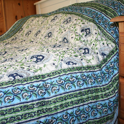 Blue Flower Single Jaipuri Quilt