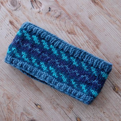 Knitted Woollen Headband Blue and Turquoise Stripe
