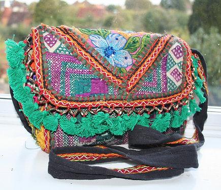Teal and Purple Patchwork Shoulder Bag