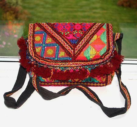 Red Geometric Patchwork Shoulder Bag
