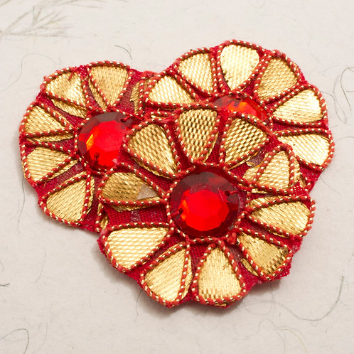 Gold and Red Embroidered Flower