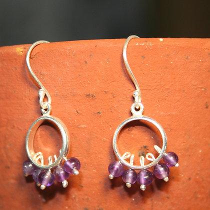 Round Beaded Amethyst Earrings