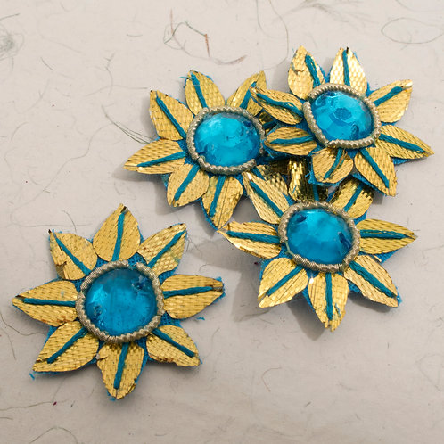 Gold and Turquoise Embroidered Flower