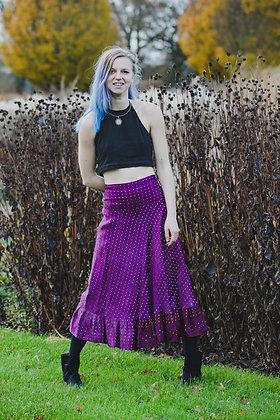 Purple Embroidered Vintage Sari Skirt Short
