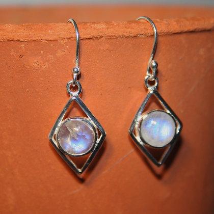 Diamond Rainbow Moonstone Earrings