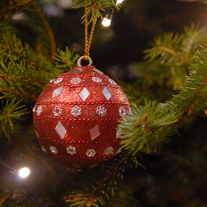 Mirror Christmas Bauble Red