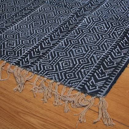 Indigo Block Printed Hand Weave Dhurry Rug