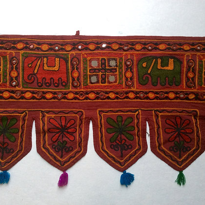 Red Embroidered Elephant Toran