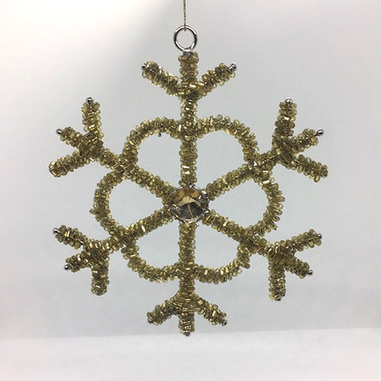 Gold Sequin Snowflake Christmas Decoration