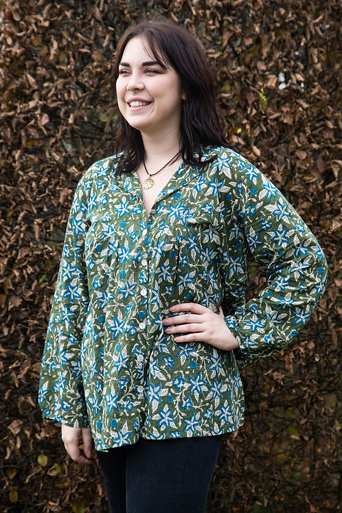 Green and Blue Flower Cotton Ladies Blouse