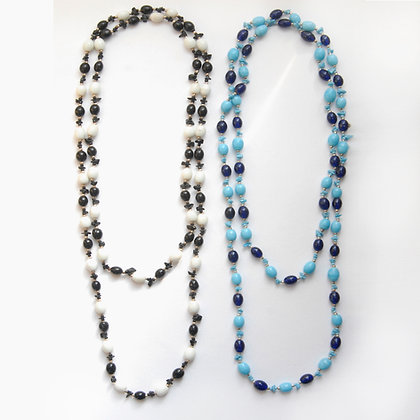 Two Tone Porcelain Beaded Necklace