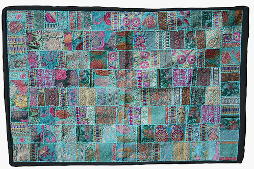Turquoise Patchwork Wall Hanging Large