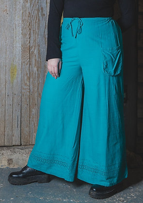 Turquoise Lace Bottom Trousers