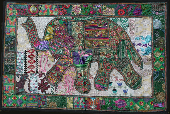 Green Patchwork Elephant Wall Hanging