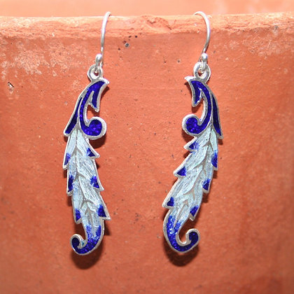 Silver and Navy Falling Leaf Enamel Earrings