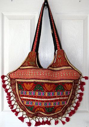 Red Round Tassel Patchwork Bag