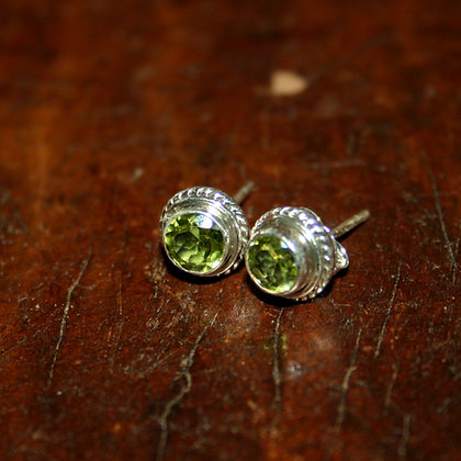 Faceted Peridot Studs