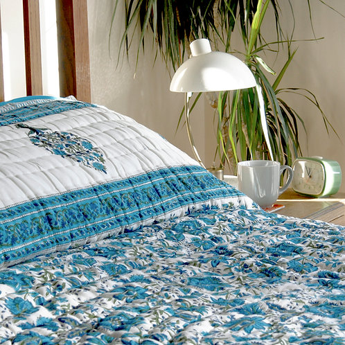 Cotton Quilt Double - Blue Tree