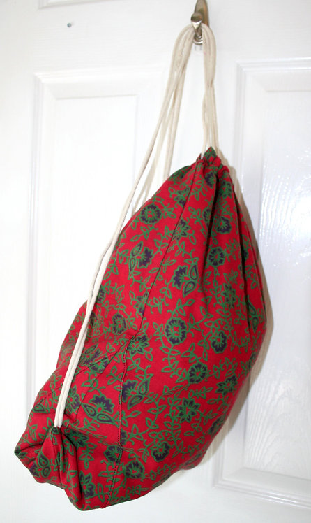 Red Cotton Drawstring Backpack