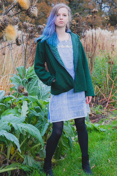 Green Cotton Hooded Jacket