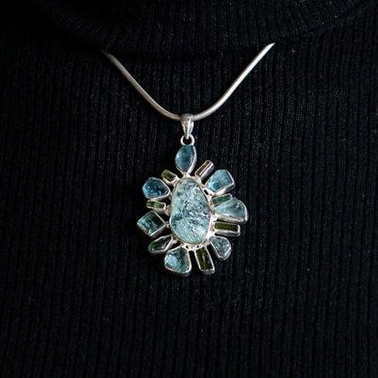 Aquamarine and Tourmaline Flower Pendant