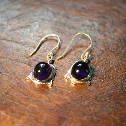 Amethyst Earrings with Twisted Wire Detail