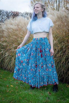 Blue Floral Jaipur Skirt