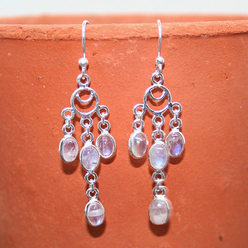 Four Falling Rainbow Moonstone Earrings