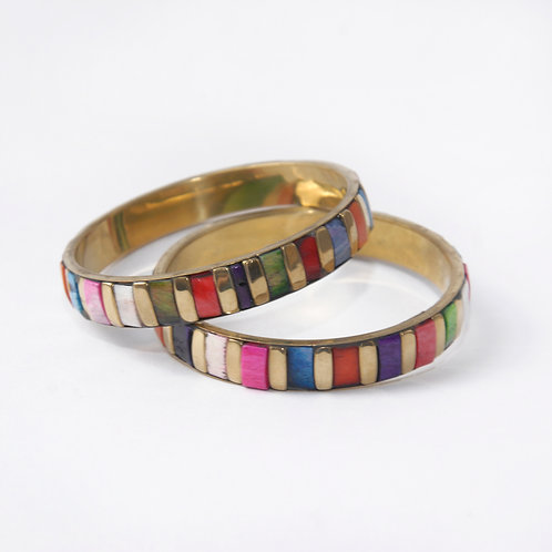 Recycled Coloured Bone and Copper Bangle