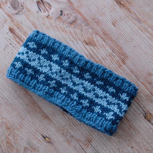 Knitted Headband Blue Stripe 1