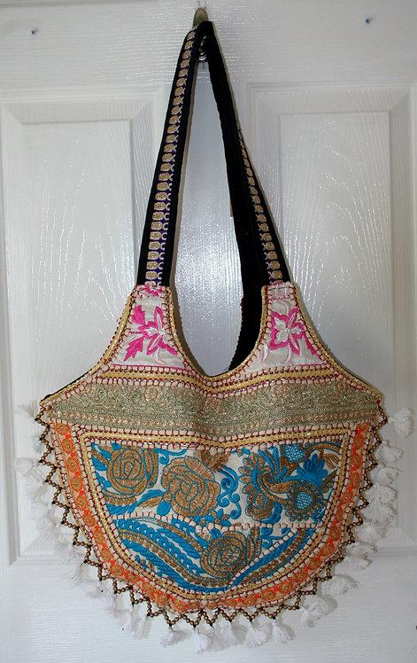 Gold Round Tassel Patchwork Bag
