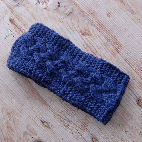 Knitted Woollen Headband Navy
