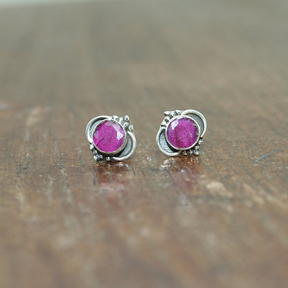 Detailed Ruby Studs