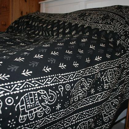 Black Elephant and Fern Block Print Double Bedspread